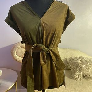 Suede Two Tone Top